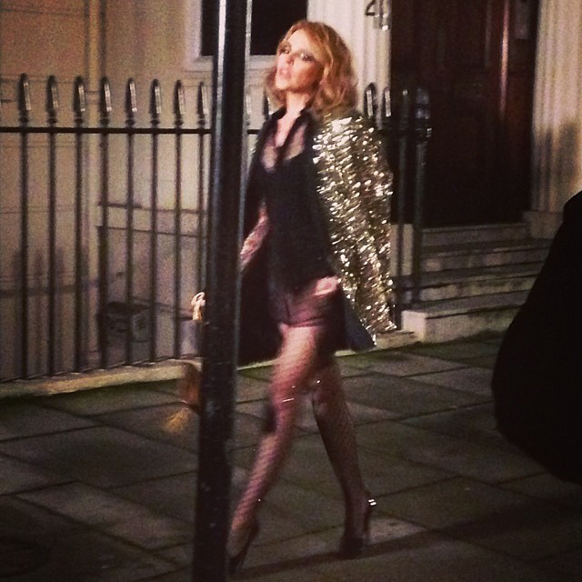 "Check out this photo of Kylie Minogue on the set of her next video, possibly titled ""Into The Blue."""