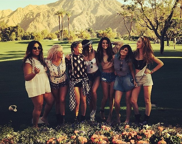 Kylie Jenner, Kendall Jenner, and Selena Gomez hung out in these Coachella photos.